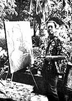 Theo Meier painting outside his residence in Chiang Mai